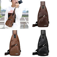 Men Chest Pack Backpack Shoulder Sling Bag Pouch Crossbody Handbags USB Charger