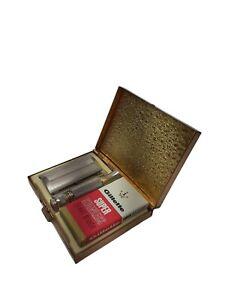 "Vintage 1966 GILLETTE ""Razor 'n Blades"" Travel Shaving Kit GOLD CASE w/Box NOS *"