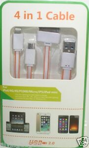 1 Meter 4 in 1 USB Flat Charge Cable Apple 8 Pin/30-Pin/Micro USB/Note 3(Orange)
