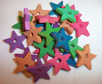 "25 Wood 1"" Colored Wooden Stars Bird Parrot Toy Craft Beads Parts w/ Hole NEW"