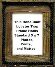 5 x 7 Lobster Trap Dark Wood Veritcal Picture Frame w/ rope - Nautical Art Print