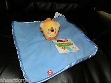 FISHER PRICE BLUE SECURITY BLANKET LION HEAD NO RATTLE JUNGLE ANIMAL SOFT BOY