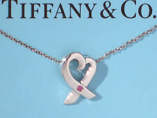 """Tiffany & Co Silver Paloma Picasso PINK SAPPHIRE Loving Heart 18"""" Necklace"""
