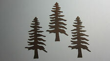 "3 RUSTY TIN PRIMITIVE PINE/FIR TREES 4 1/8"" COUNTRY CRAFT PRIMITIVE HOME DECOR"