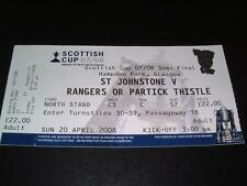 RANGERS FC v ST JOHNSTONE FC NACHO NOVO 2008 SCOTTISH CUP SEMI-FINAL TICKET