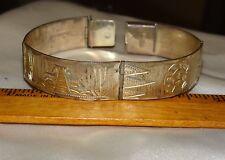 Vintage Sterling Silver Mexico Mayan? Etched Bracelet Eagle Mark 4