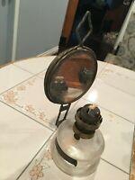 ANTIQUE KEROSENE LAMP WITH VERY OLD MIRROR REFLECTOR