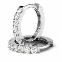 0.5Ct Diamond D/VVS1 Huggie Hoop Earrings In 14K White Gold Over Sterling Silver