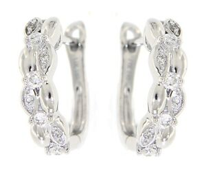 Solid Real Natural Diamond 14K White Gold 0.24 CT Designer Huggies Earrings