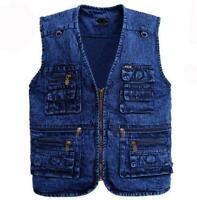 New Men Denim Jeans Vests Jackets Coat Outwear Slim Motorbiker Pockets Sz XL-5XL
