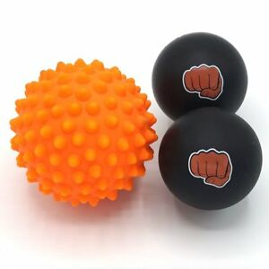 Massage Ball Set - 2 Solid Rubber Lacrosse Balls and 1 Trigger Point Spiky Ball