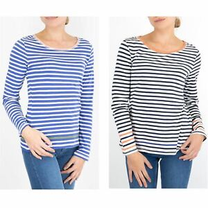 Womens White Stuff Top Cotton Stripe Long Sleeve Ladies Tee Casual Crew Neck