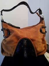 GENUINE CROMIA HANDBAG LEATHER AND PATENT LEATHER BROWN Made in Italy