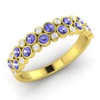 0.91 Ct Round Tanzanite Natural Diamond Engagement Ring 14K Yellow Gold Size L M