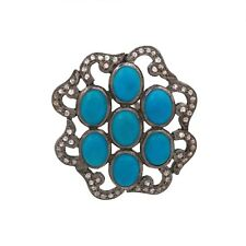 925 solid Sterling Silver Pendant Natural Turquoise with Diamond Free Shipping