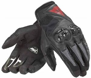 Dainese Mig C2 Black Motorcycle Gloves Summer Gloves Short Airy Leather