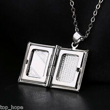 Living Memory Silver Plated Book Floating Locket Photo Book Frame Pendant NEW