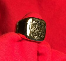Imperial Russian Embossed Black Double Eagle Russia Gold Ring Size 7 + Gift Box
