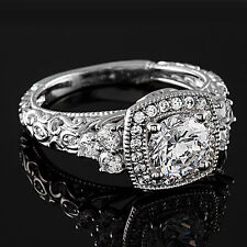 Halo Pave Solitaire 1.30 Carat Round Cut Diamond Engagement Ring White Gold
