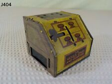 VINTAGE TIN LITHOGRAPH MECHANICAL TRI COIN REGISTER BANK TOY MADE IN THE USA