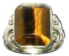 Großer Tigerauge Ring massiv Silber 835  Ø ca. 21mm