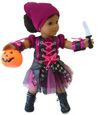 """Pirate Costume & Pumpkin Candy Holder for 18"""" American Girl Doll Halloween"""