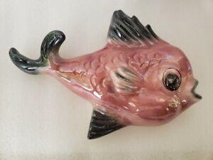 Vintage Ceramic Pink Fish Wall Pocket Planter- Ceramicraft