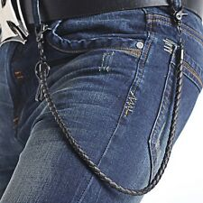 Stylish Leather Punk Biker Keychain Key Jeans Wallet Belt Chain Hip-hop black