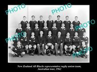 OLD LARGE HISTORIC PHOTO OF THE NEW ZEALAND ALL BLACKS RUGBY UNION TEAM 1962