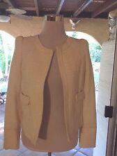 NWT Designer Michelle Belau Cream Gold lined Blazer Jacket Peru Classy Sz Sm
