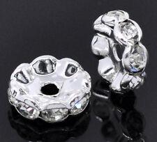 20 Perles intercalaires Strass Argenté 10mm Dia.