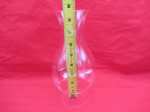 VTG FLARED TOP GLASS OIL HURRICANE LAMP CHIMNEY GLOBE SHADE 8.5 HIGH 2-7/8 BASE