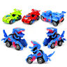 JP_ Transforming Dinosaur LED Car Toys With Light Sound Xmas Kids Electric Toy