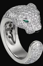 2.50 Ct Pear Cut Emerald Diamond 14k White Gold Over Panthere Designed Ring