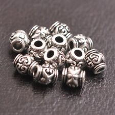 100Pcs Tibetan Silver Gold Bronze Flower Oval Beads Jewelry Findings A3150