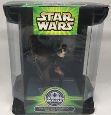 Hasbro STAR WARS FIGURE 2001 POTJ HAN SOLO DEATH STAR ESCAPE with gun and stand