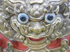 Panneau bois laqué rouge doré, têtes de dragons,monstres Chichi ancienChine XIX°