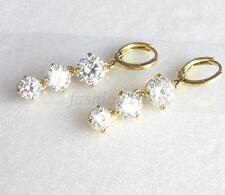 14K Yellow Gold Plated CZ Cubic Xmas Wedding 37mm Long Dangle Hoop Earrings