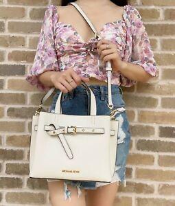 Michael Kors Emilia Small Satchel Crossbody Bag Pebbled Leather