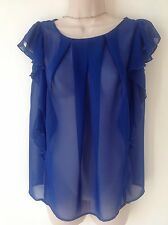 MANGO SIZE 6 BLUE CHIFFON FLOATY TUNIC TOP SMART CASUAL PARTY BOHO HIPPY HOLIDAY