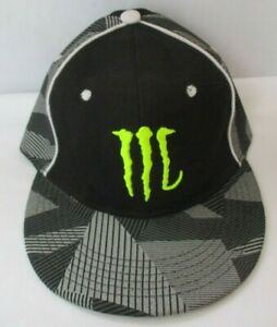 MONSTER ENERGY DRINK BLACK FITTED CAP HAT - SIZE 7-1/4