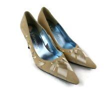 J Renee Women Heel Pump Tan Suede Ribbon Trim Accent Size 7.5 M Casual Business