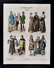 1880 Braun Costume Print 14th c. English Dress Noblemen Knights Merchant Citizen