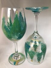 2 Hand-Painted Evergreen Tree Wine Glasses