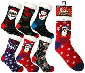 Ladies Thick DOUBLE INSULATED Socks LOUNGE SLIPPERS Secret Santa Xmas gift