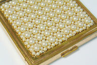 Vtg CINER Pearls & Gold COMPACT No Mirror Powder Rouge w/ Lid Make Up Case Decor