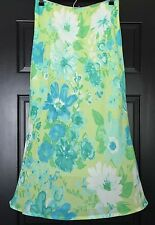 Pierre Cardin Womens Skirt Floral Yellow Watercolor Lined Size 12 Petite 12P
