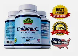 COLLAGEN ColagenoALFA Hydrolysate with Vitamin C  ANTIANGING Colageno 100 tabs