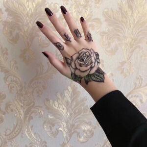 Temporäres 3D Design Hand Tattoo Arm Einmal-Tattoo Wasserfest Körperkunst Rose