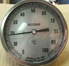 Temperature Gauge 130mm dial, 0 -100C, 500mm stem